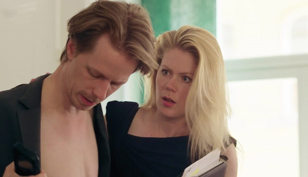 Scandinavian actor Fredrik Wagner as one night stand in comedy film Public relations with Hanna Alström