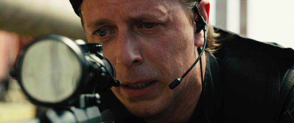 Scandinavian actor Fredrik Wagner as sniper in action musical film Hard Way