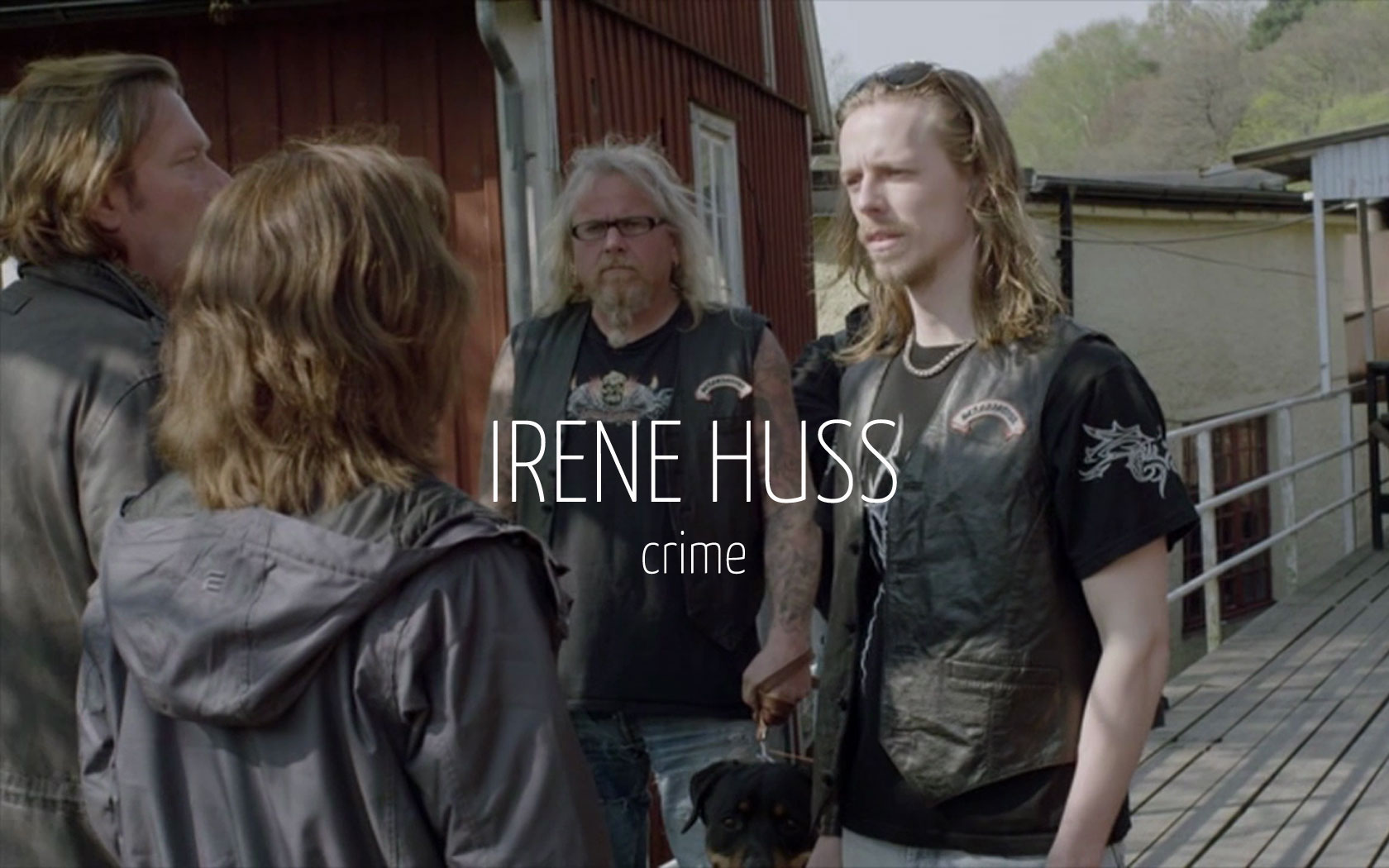 Scandinavian actor Fredrik Wagner as biker in criminal drama film Irene Huss with Dag Malmberg