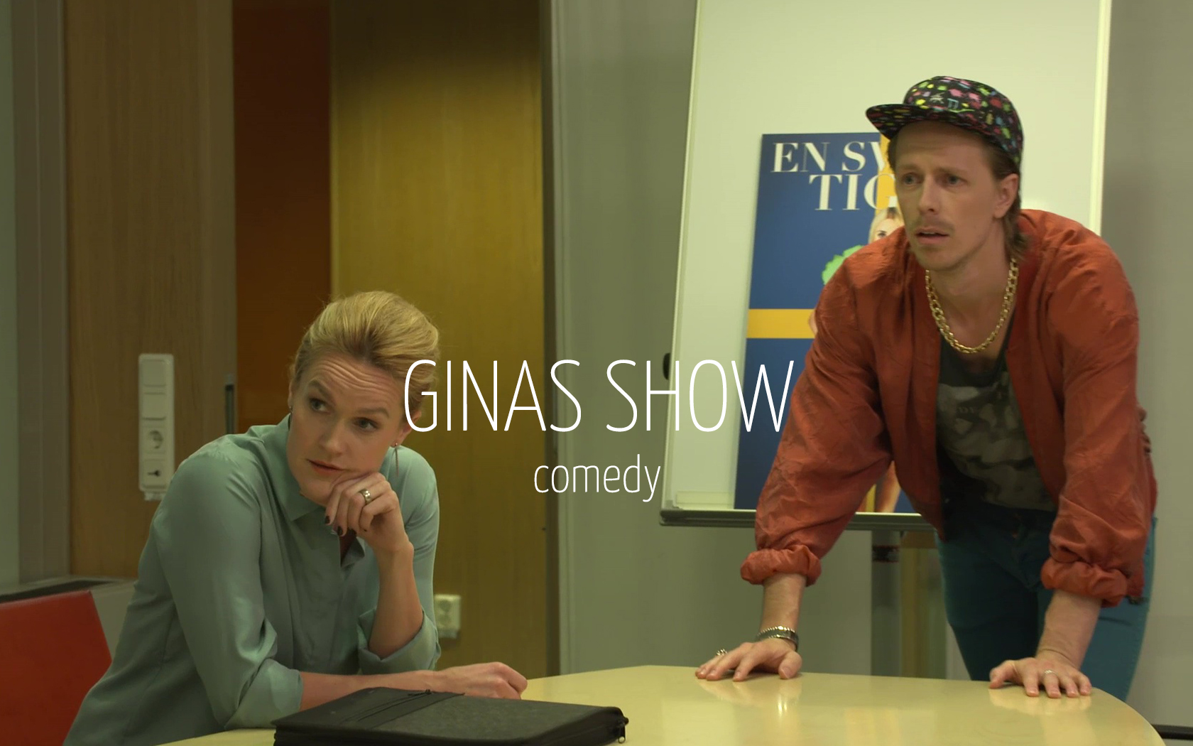 Scandinavian actor Fredrik Wagner as advertising guy in comedy series Ginas show with Johanna Wilson