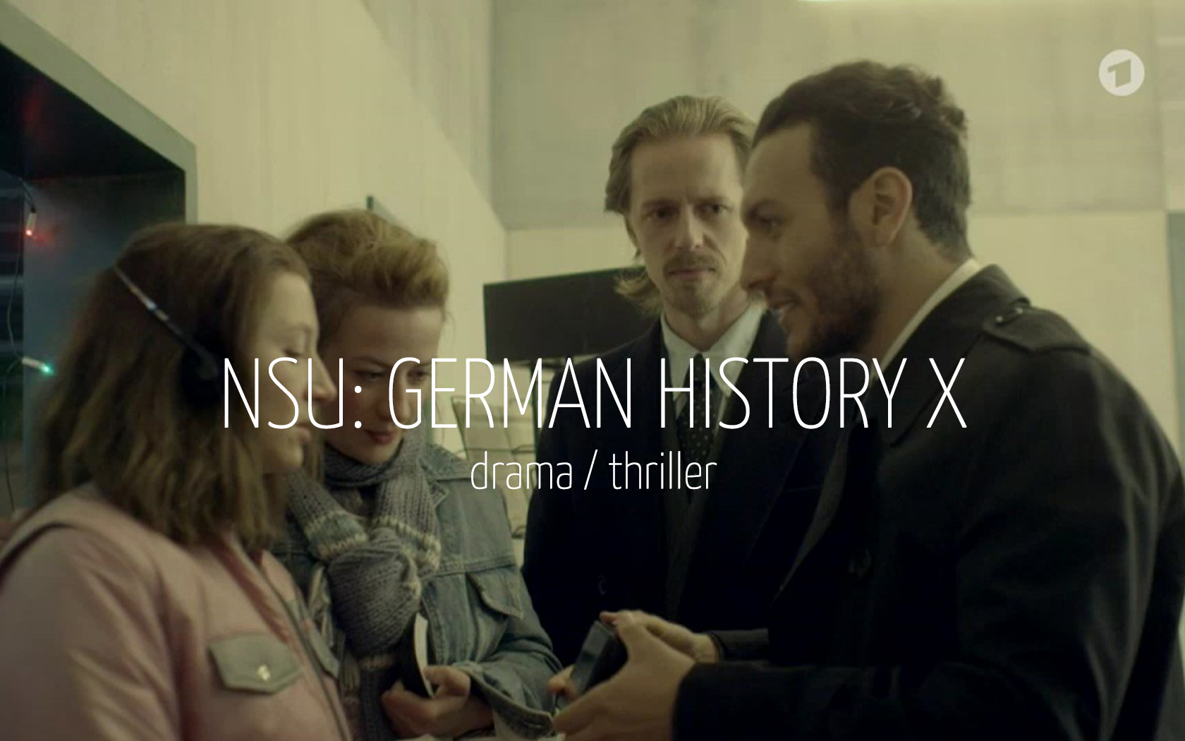 Scandinavian actor Fredrik Wagner as scientologist in drama film NSU: German History X with Anna Maria Mühe, Nina Gummich and Angus McGruther