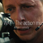 Scandinavian actor Fredrik Wagner as sniper in action comedy film Hard Way - The Action Musical